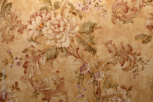 Juliste  Vintage wallpaper with  floral pattern