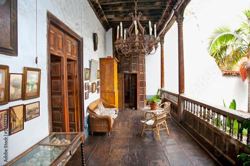 Fototapeta Old traditional house terrace in La Orotava, Tenerife. obraz na płótnie