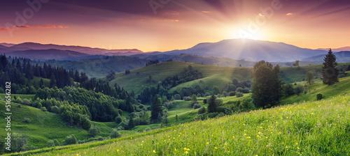 Foto op Aluminium Zalm mountains landscape