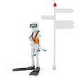 3d man with scuba gear near signpost