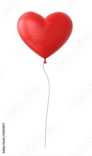 Fotografie, Obraz  3d red heart shapped balloon isolated on white background