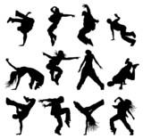 set silhouettes breaks dancers