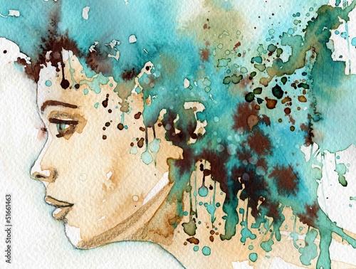 Aluminium Prints Painterly Inspiration beautiful woman