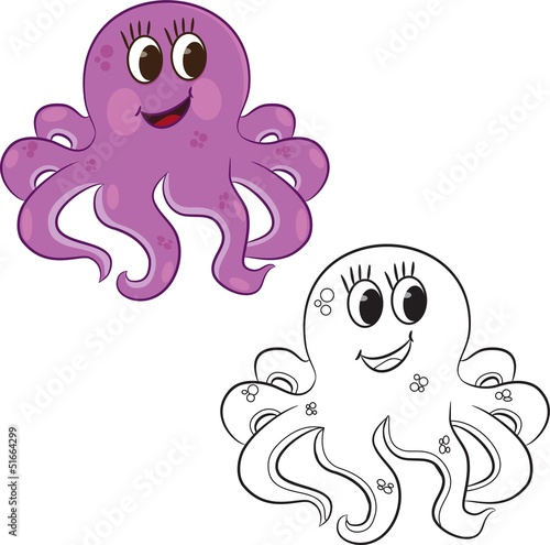 Spoed Foto op Canvas Doe het zelf Cartoon octopus. Coloring book. Vector illustration