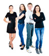 successful young people on white background