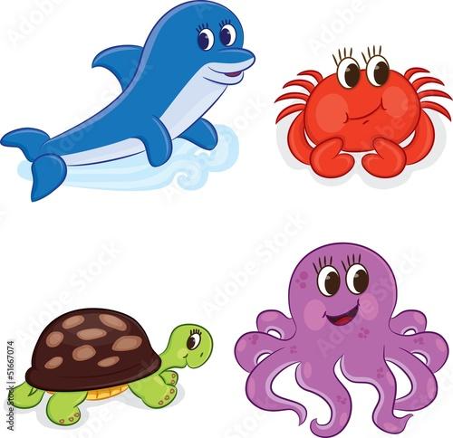 zwierzeta-morskie-z-kreskowek-ilustracji-wektorowych