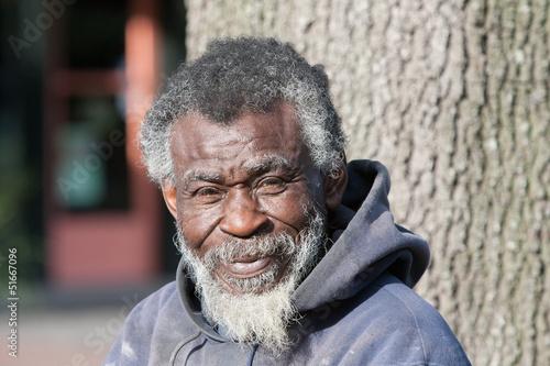 Fotografie, Obraz Old African American homeless man