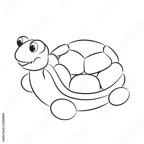 Spoed Foto op Canvas Doe het zelf Outlined turtle toy. Coloring book. Vector illustration
