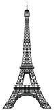 Fototapeta Fototapety z wieżą Eiffla - Eiffel Tower Black Silhouette