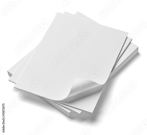Photographie stack of papers with curl documents office business
