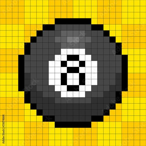 Autocollant pour porte Pixel 8-bit Pixel 8-ball