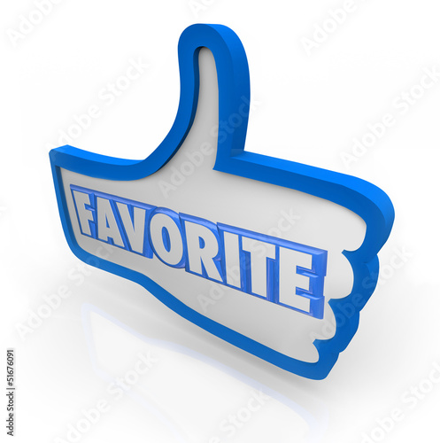 Fotografie, Obraz  Favorite Word Blue Thumb's Up Social Media