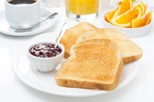 Breakfast With Toasts, Jam, Co...