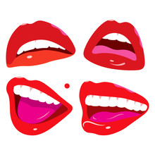 Pop Art Feminine Mouth, Lips Set