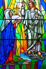 Obraz na Plexi Stained Glass in a Catholic Church