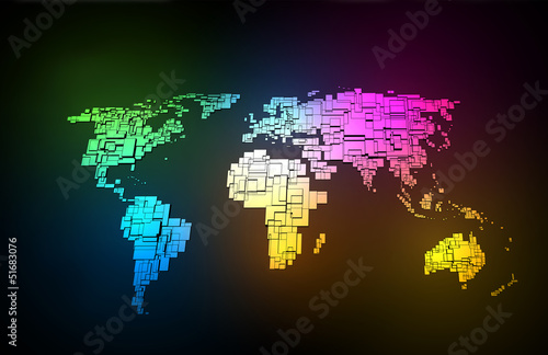 Garden Poster World Map Colored neon map of the World, hand sketch design