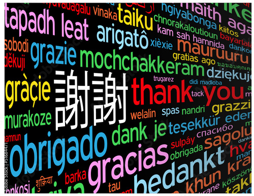 Thank You Card Chinese Languages Translation Symbol Tag Cloud