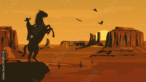 Keuken foto achterwand Wild West Horizontal cartoon illustration of prairie wild west.