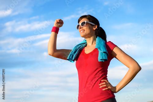 Happy fitness woman success in sport