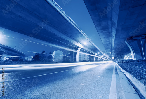 Photo  Viaduct below the light trails