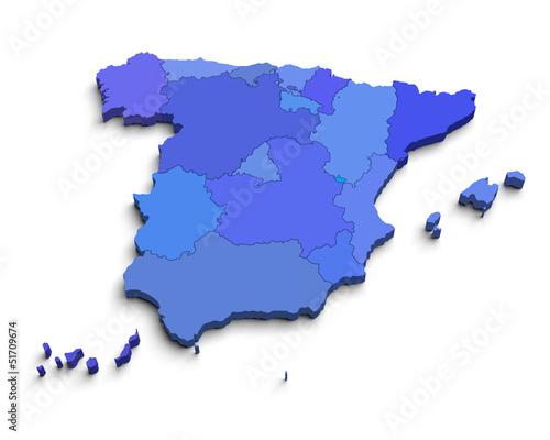 3d Spain blue map on white