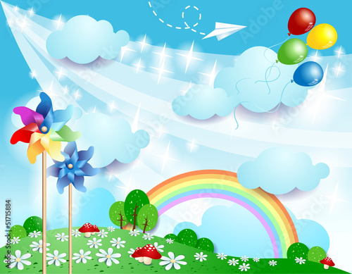 Door stickers Magic world Spring landscape with pinwheels