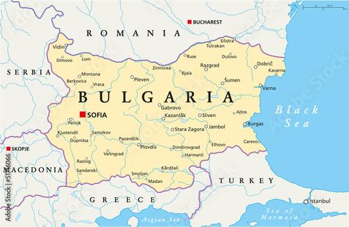 Foto op Canvas Wereldkaart Bulgaria Map (Bulgarien Landkarte)