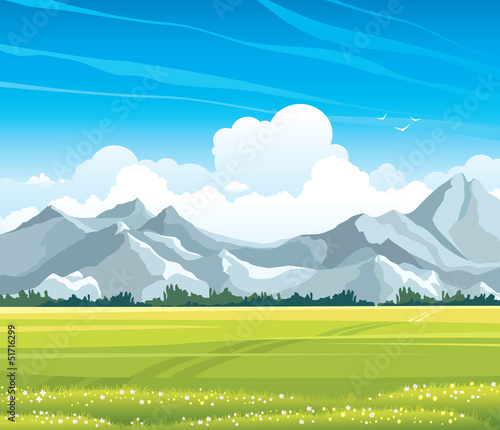 Aluminium Prints Blue Summer landscape with meadow and mountains