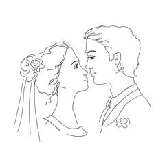 Sketch of bride and groom
