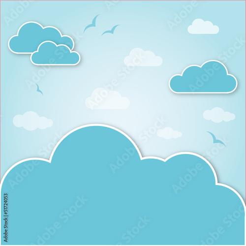Tuinposter Hemel seagulls and clouds