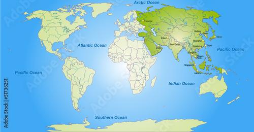 Staande foto Wereldkaart Landkarte von Asien und der Welt