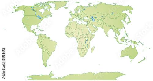 Freigestellte Weltkarte