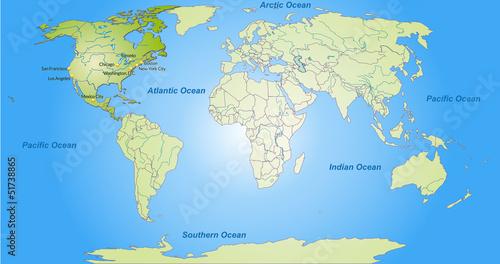 Staande foto Wereldkaart Landkarte von Nordamerika und der Welt