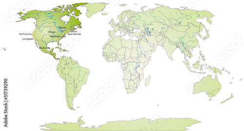 Poster Carte du monde Landkarte von Nordamerika und der Welt