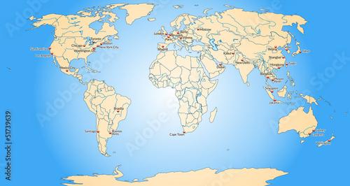Foto op Canvas Wereldkaart Weltkarte mit Meeresflächen
