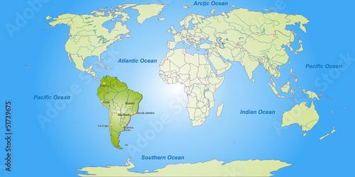 Poster Carte du monde Landkarte von Südamerika und der Welt