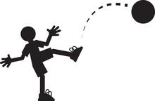 Silhouette Figure Kicking A Ball