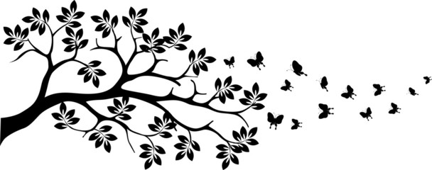 Panel Szklany Natura tree silhouette with butterfly flying