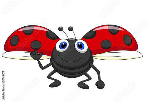 Poster Lieveheersbeestjes Cute ladybug cartoon flying
