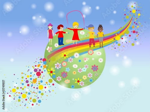 Deurstickers Regenboog dzień dziecka