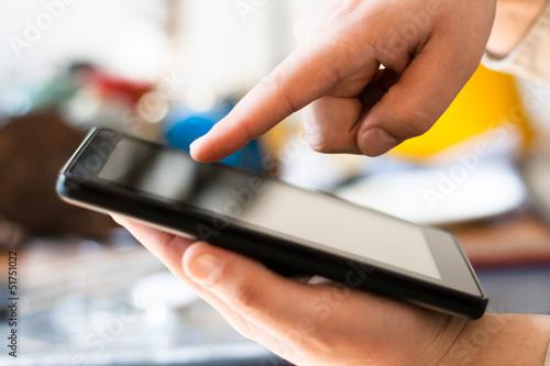 Fototapeta Hands with tablet computer obraz na płótnie