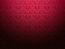 Cardinal Red Floral Pattern Wa...