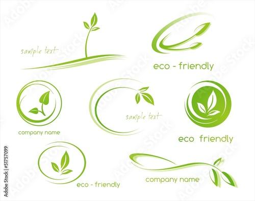 Obraz leaves, plant, icons , nature, Eco friendly business logo - fototapety do salonu