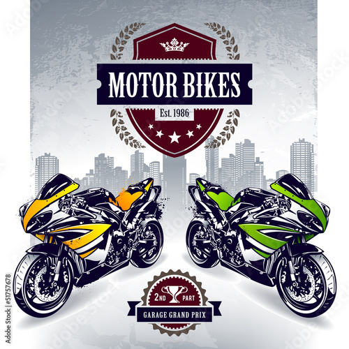 Poster Motorcycle Two sport motorbikes with stylish club emblem