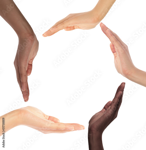 Fototapety, obrazy: Conceptual symbol of multiracial human hands making a circle