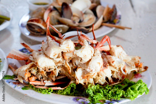 Poster Coquillage Thai seafood - steamed crab