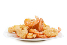 Plate Of Fried Fish On White B...