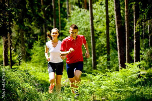 jogging in forest