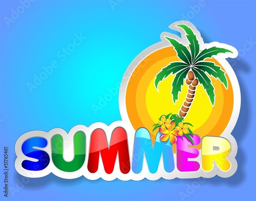 Fotobehang Draw Colorful Summer Sticker-Adesivo Estate con Palma-Vector