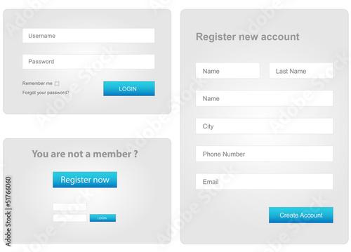 Fotografía  login and register web form